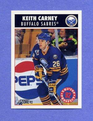 1992-93 Score Hockey #461 Keith Carney RC - Buffalo Sabres