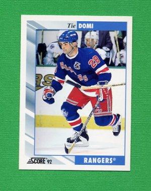 1992-93 Score Hockey #408 Tie Domi - New York Rangers
