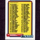 1992 Topps Baseball #787 Checklist No. 6 of 6
