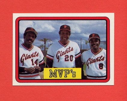 1983 Donruss Baseball #648 San Francisco Giants MVP's Frank Robinson / Vida Blue / Joe Morgan
