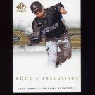 2008 SP Authentic Baseball Rookie Exclusives #NE Josh Newman - Colorado Rockies