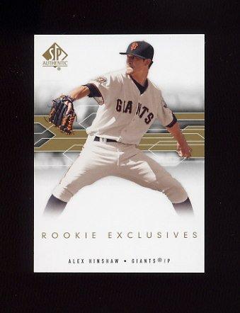 2008 SP Authentic Baseball Rookie Exclusives #AH Alex Hinshaw - San Francisco Giants
