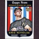 2008 Topps Heritage Baseball #605 Greg Reynolds RC - Colorado Rockies