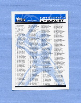 2004 Topps Baseball #NNO Series 2 Checklist 1 of 2