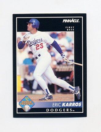 1992 Pinnacle Baseball #256 Eric Karros - Los Angeles Dodgers