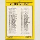 1991 Fleer Baseball #717 Detroit Tigers / Cleveland Indians / Phillies / Chicago Cubs Team Checklist