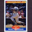 1989 Score Baseball #657 Rickey Henderson HL - New York Yankees