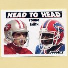 1991 Pinnacle Football #351 Head to Head Steve Young / Bruce Smith