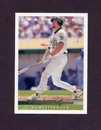 1993 Upper Deck Baseball #566 Mark McGwire - Oakland A's