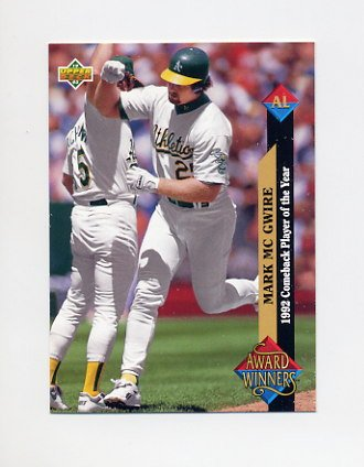 1993 Upper Deck Baseball #493 Mark McGwire AW - Oakland A's