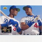1993 Upper Deck Baseball #477 Eric Davis / Darryl Strawberry - Los Angeles Dodgers