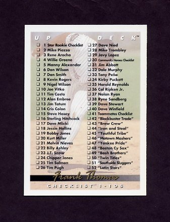 1993 Upper Deck Baseball #105 Frank Thomas / Checklist 1-105