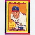 1989 Donruss Baseball #588 Warren Spahn Puzzle - Milwaukee Braves
