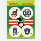 1990 Fleer Baseball Action Series Team Logo Stickers Indians/ Tigers/ Royals/Brewers Team Logos