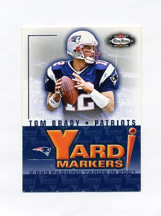 2002 Fleer Box Score Yard Markers Football #01 Tom Brady - New England Patriots