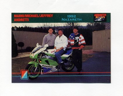 1992 Collect-A-Card Andretti Racing #76 Mario Andretti / Michael Andretti / Jeff Andretti