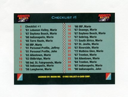 1992 Collect-A-Card Andretti Racing #01 Checklist Card
