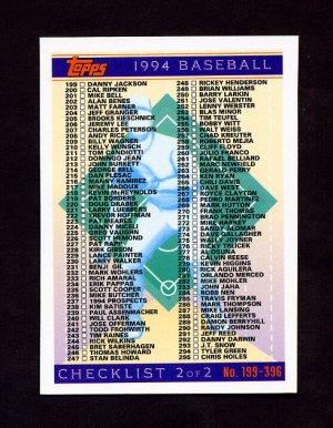 1994 Topps Baseball #396 Checklist 199-396