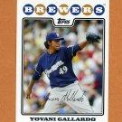 2008 Topps Baseball #039 Yovani Gallardo - Milwaukee Brewers