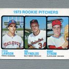 1973 Topps Baseball #612 Rookie Pitchers / Steve Lawson RC / Bob Reynolds / Brent Strom RC