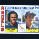 1984 Topps Baseball #276 California Angels TL Rod Carew / Geoff Zahn / Team Checklist NM-M