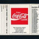 1989 Alabama Coke 580 Football #NNO Checklist #6