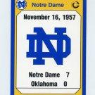 1990 Notre Dame 200 Football #186 1957 Oklahoma
