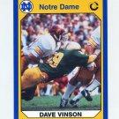 1990 Notre Dame 200 Football #034 Dave Vinson - University of Notre Dame
