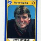 1990 Notre Dame 200 Football #016 Greg Dingens - University of Notre Dame