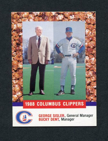 1988 Columbus Clippers Police Baseball #25 Bucky Dent MG / George Sisler GM - Columbus Clippers