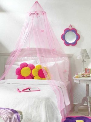 Pink Glow in the Dark Butterfly Bed Canopy