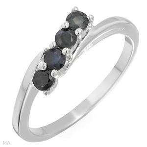 Genuine Sapphires RING Solid Sterling Silver -7