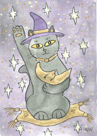 Moon Guardian Lucky Neko Black Cat & Moon ACEO Print