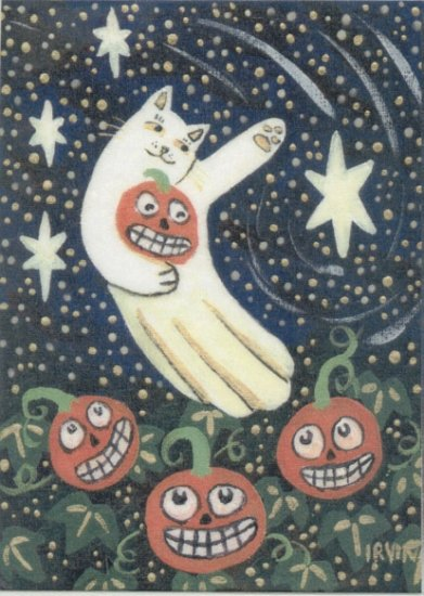 Lucky Neko Ghost Cat Flying Over Pumpkin Patch with JOLs ACEO Print