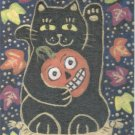 Maneki Neko Lucky Black Cat with Jack O Lantern in Autumn Leaves ACEO Print