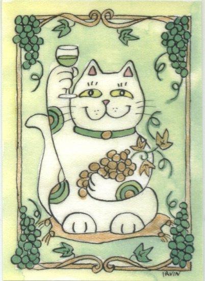 Maneki Neko Lucky Calico Cat Who Drinks White Wine ACEO Print