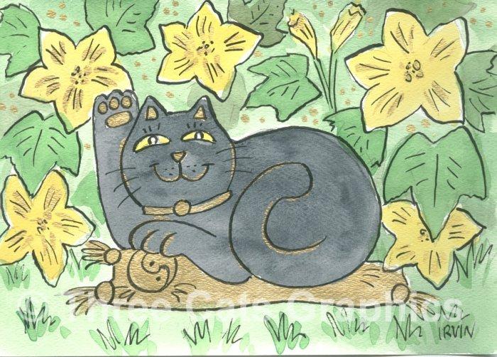 Lucky Neko Black Cat in the Pumpkin Blossoms ACEO Print