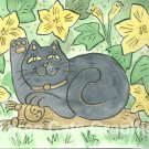 Lucky Neko Black Cat in the Pumpkin Blossoms ACEO Print