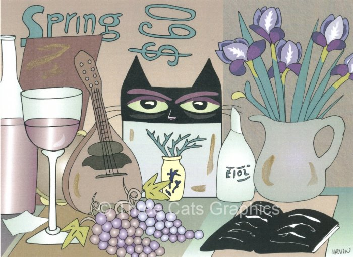 The Eyes Are Watching Black Cat Wine Weird Limited Edition Mixed Media Print