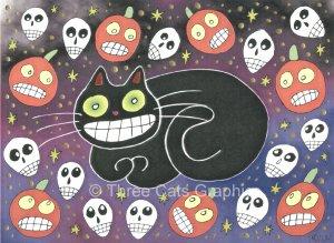 Halloween Daydream Black Cat Skulls JOLs Limited Edition Mixed Media Print