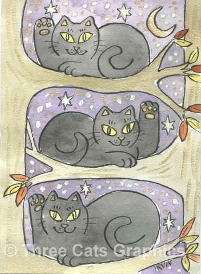 Lucky Tree Trio Three Lucky Neko Black Cats in Tree ACEO Print