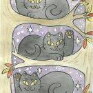 Lucky Tree Trio Three Lucky Neko Black Cats in Tree ACEO Print