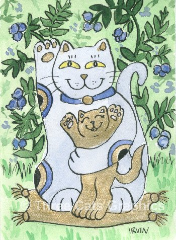 Maneki Neko Lucky Blueberry Cat with Golden Kitten ACEO Print
