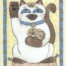 Maneki Neko Lucky Siamese Cat with Buddha ACEO Print