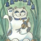 Maneki Neko Lucky Calico Cat with Bluebells and Fairy ACEO Print