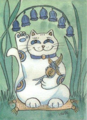 Maneki Neko Lucky Calico Cat with Bluebells and Fairy ACEO Print
