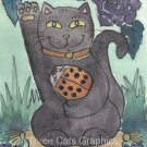Maneki Neko Lucky Black Cat with Orange Ladybug & Purple Rose ACEO Print