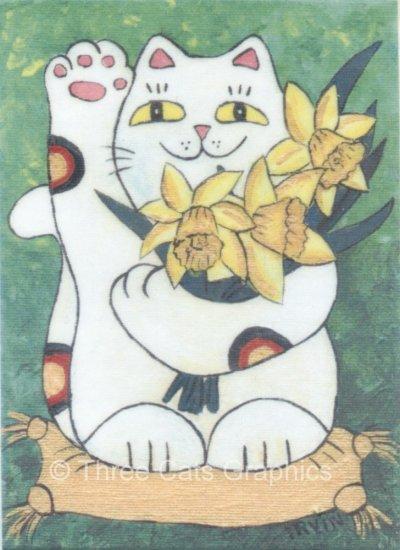 Maneki Neko Lucky Calico Cat with Daffodils ACEO Print