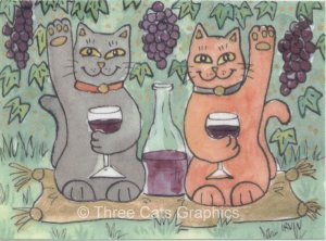 Lucky Glass of Merlot Red Wine in Vineyard Black & Orange Cats ACEO Print