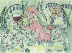 Pink Poodle Enjoying Gamay Red Wine in Spring Garden with Gold Butterfly ACEO Art Print